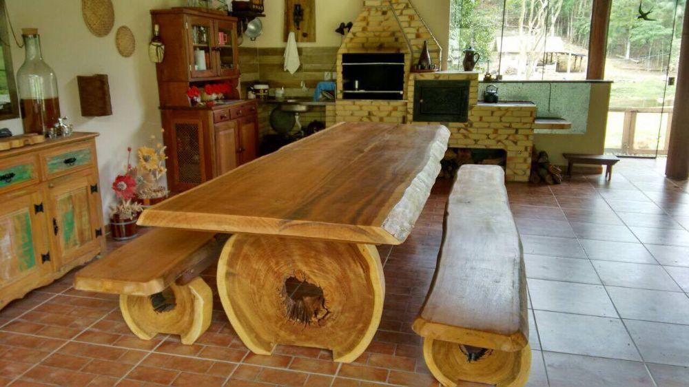 Mesa r stica p tora conjunto madeira ita ba maci a com for Mesas rusticas grandes